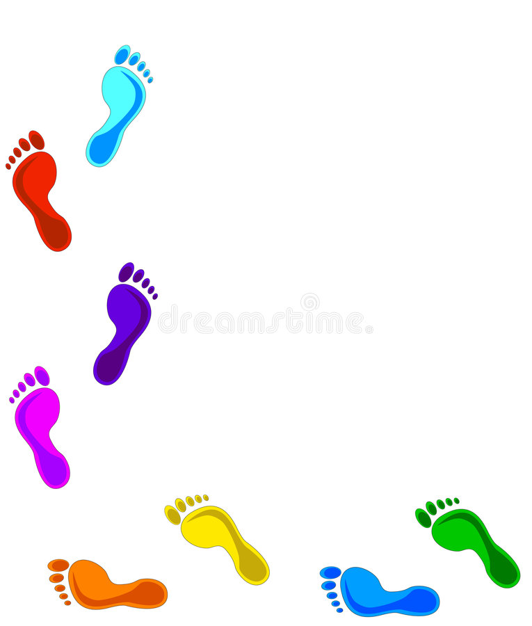 Download Colored footprints stock vector. Image of yellow, walking - 8708997