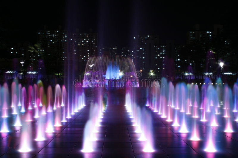 Colored Fountain At Night stock photos