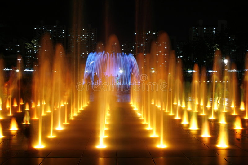 Download Colored Fountain At Night stock image. Image of suspended - 2939669