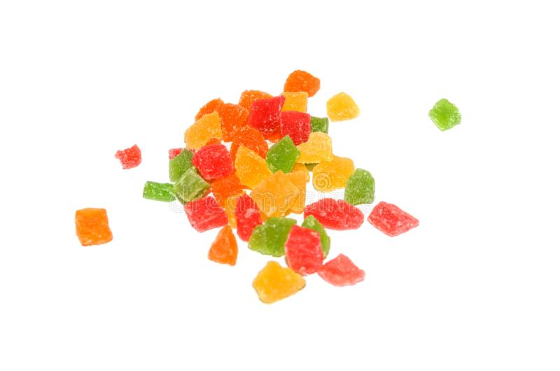 Colored candied fruits isolated on white royalty free stock images