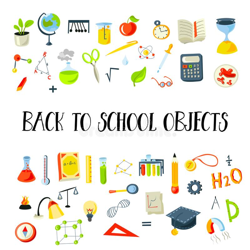 Colored Funny Back to School supplies, elements and objects. Autumn back to school supplies in funny doodle cartooning. Lined Back to School supplies, elements vector illustration