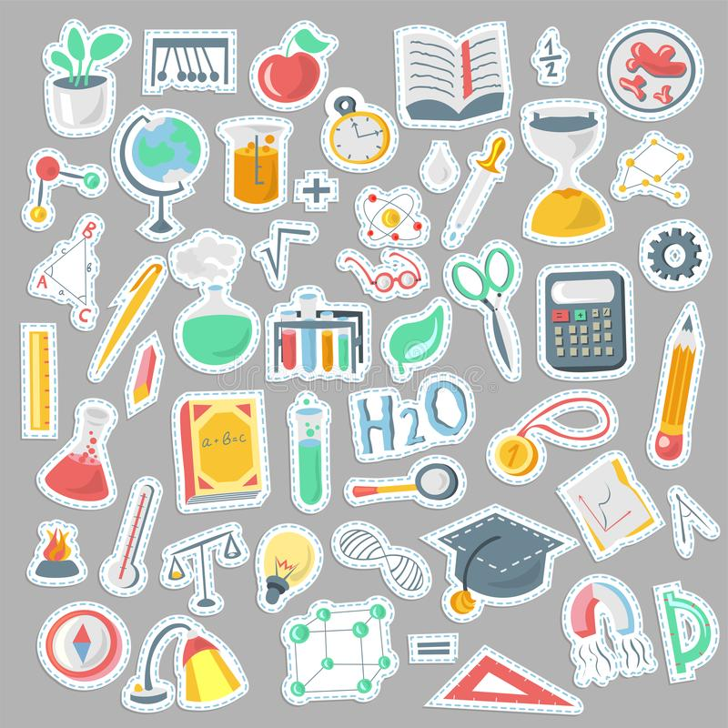 Colored Funny Back to School supplies, elements and objects. Autumn back to school supplies in funny doodle cartooning. Lined Back to School supplies, elements stock illustration