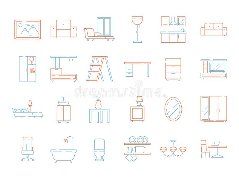 Colored furniture icon. Room interior items chair table bed fireplace home symbols vector thin line pictures stock illustration