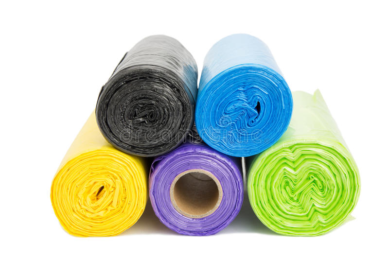 Colored garbage bags roll. Close up of colored garbage bags roll stock image