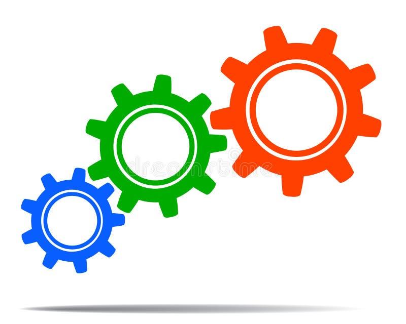 Colored gears, concept teamwork, staff, partnership - vector vector illustration