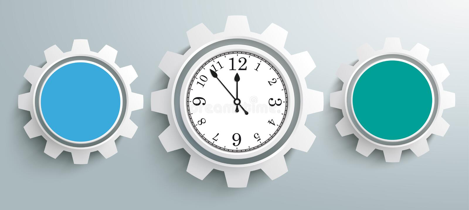 3 Colored Gears Infographic Header Clock stock illustration