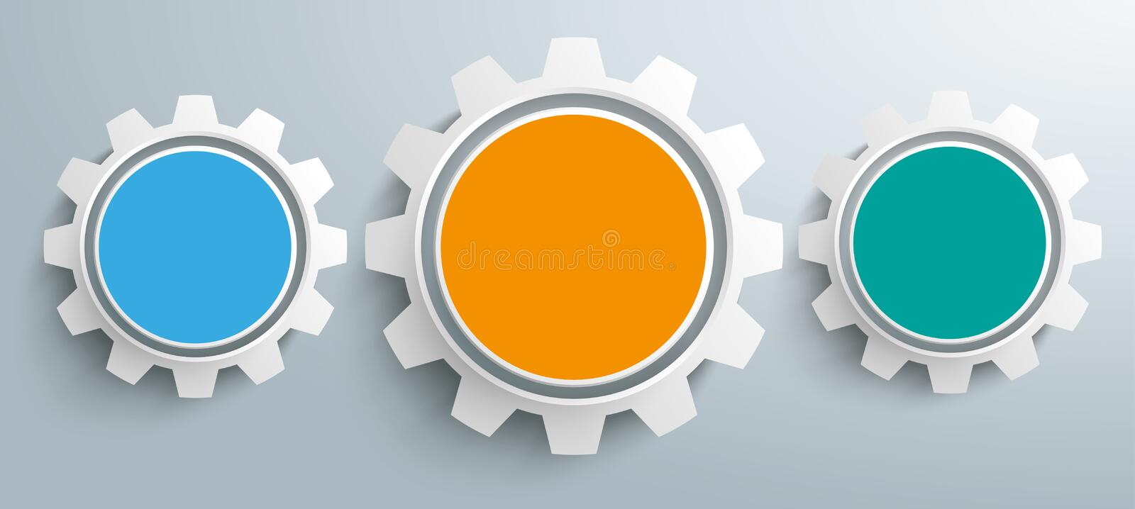 3 Colored Gears Infographic Header vector illustration