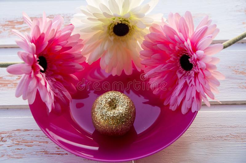 Colored gerberas on a pink plate with a Golden Apple. Still life in nature. Golden apple royalty free stock photography