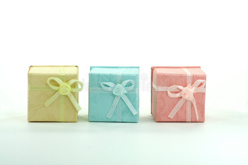 Colored gift boxes royalty free stock photos