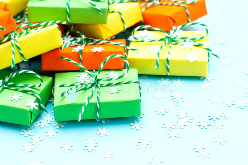Colored gifts symbol Christmas royalty free stock photos