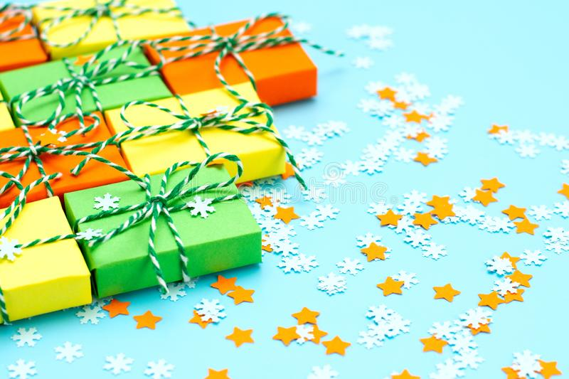 Colored gifts symbol Christmas royalty free stock images