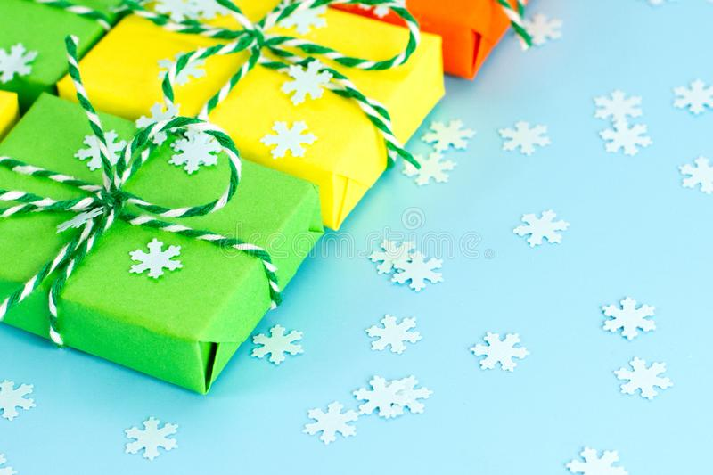 Colored gifts symbol Christmas stock photography