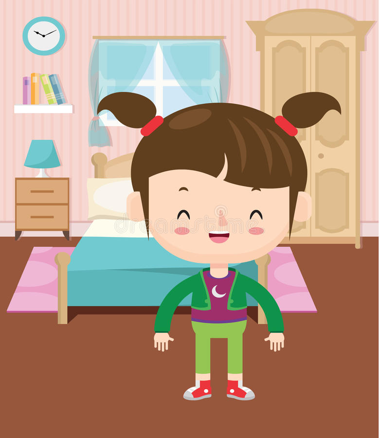 Colored of a girl in her room vector illustration