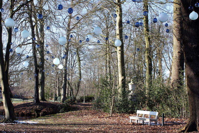 Colored glass balls. In the trees of estate Fraeylemaborg in Slochteren.The Netherlands royalty free stock photography