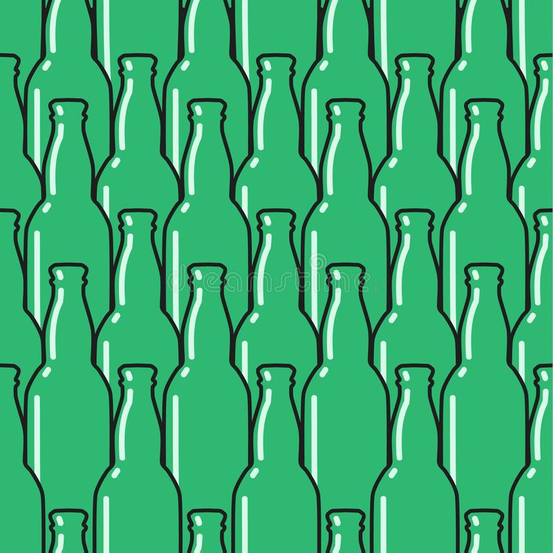 Colored glass bottles seamless pattern. royalty free illustration