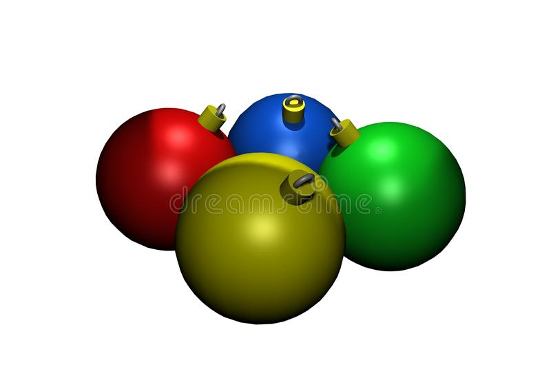 Colored Glass Christmas Ornaments in 3D stock photos