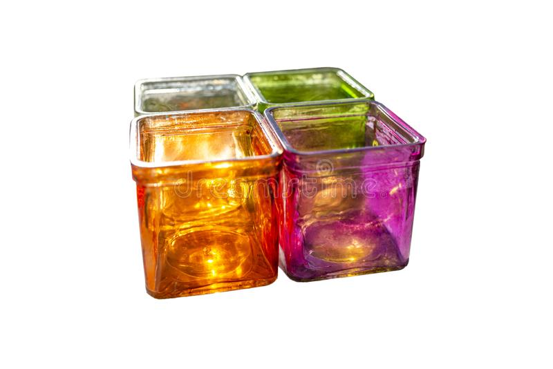 Colored glass coasters for tealights, side view, isolated on a white background with a clipping path. stock photos