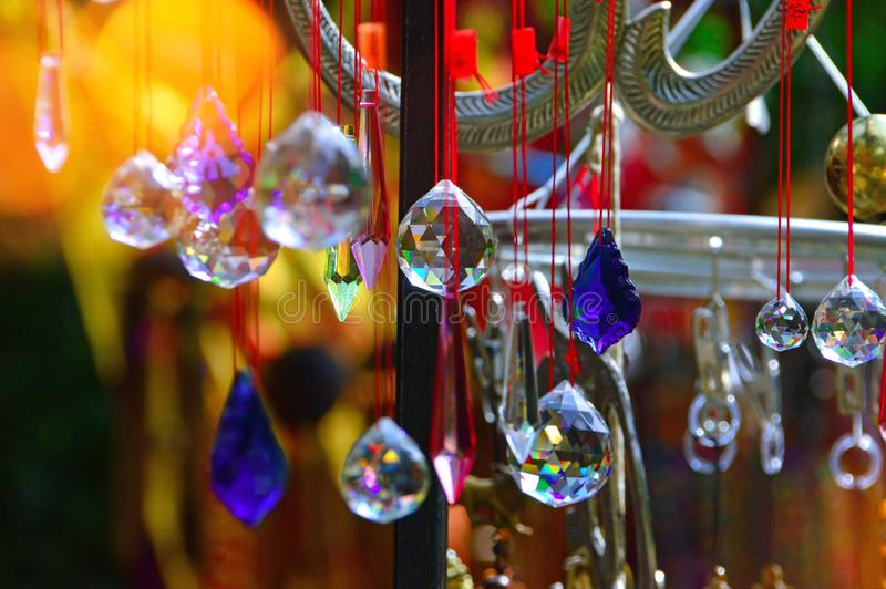Colored glass, and copper wind chime. High ropes in an adult adventure park where people play sports and relax stock photos