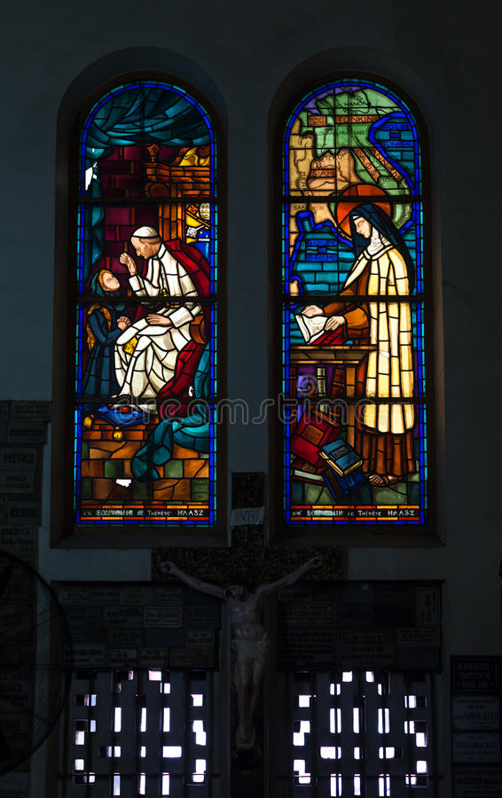 Colored glass, stained window church gothic. At Duc Ba Church, Ho Chi Minh City stock images