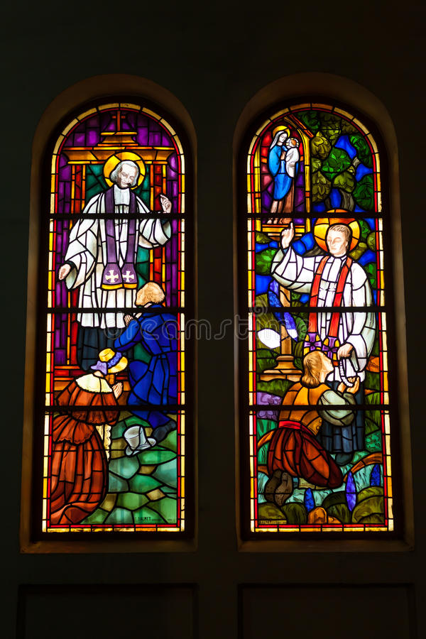 Colored glass, stained window church gothic. At Duc Ba Church, Ho Chi Minh City royalty free stock photography
