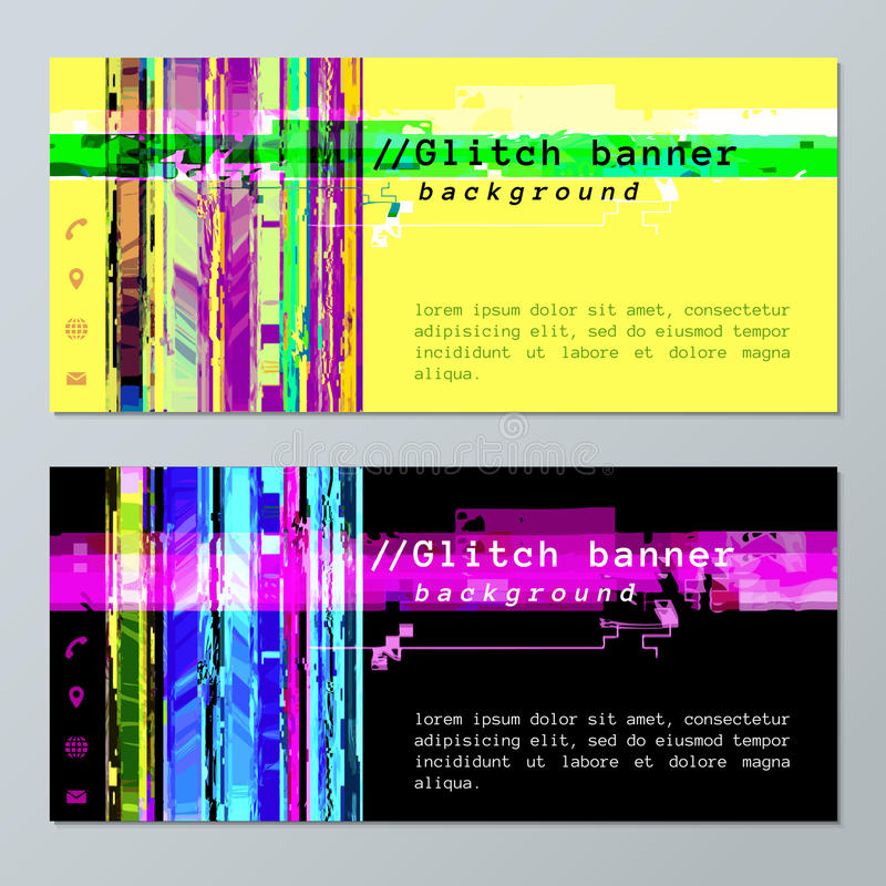 Colored glitch design background banner icons templates stock illustration