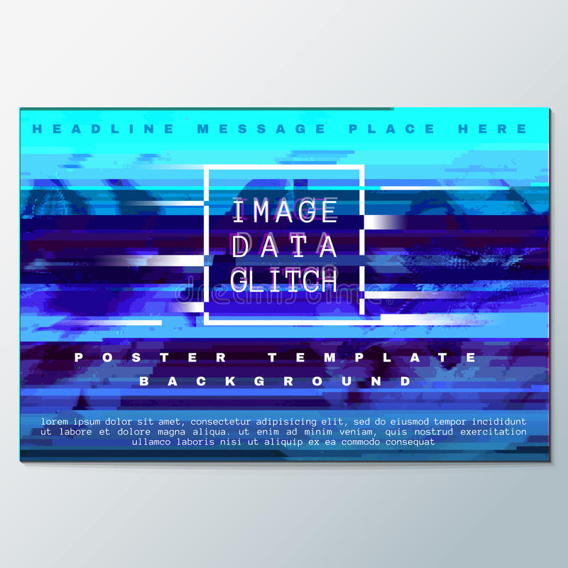 Colored glitch design background poster template. Vector blue colored abstract digital glitch art design horizontal flyer poster banner template isolated vector illustration