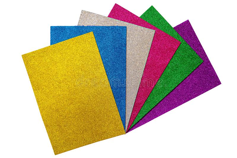 Colored glitter foamiran sheets isolated on white backround stock photo