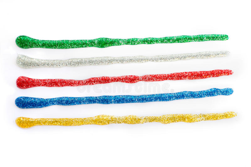 Colored glitter gel strokes stock photography