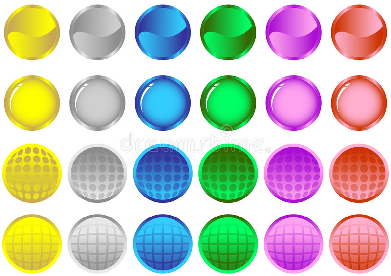 Colored Glossy Buttons stock illustration
