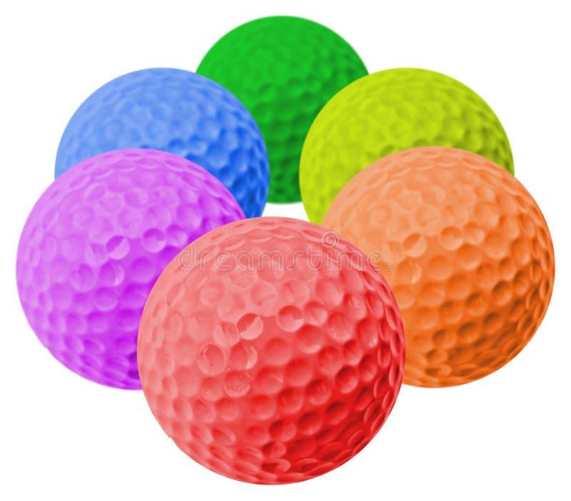 Colored golf balls stock photos