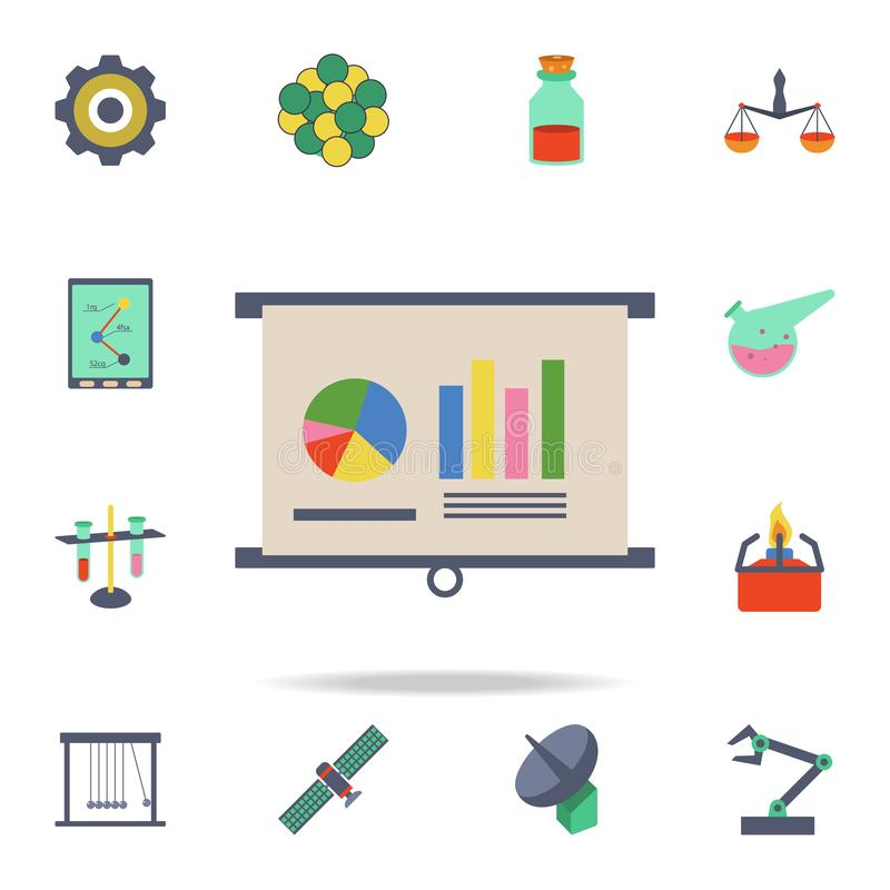 colored graphical indicators on the presentation icon. Detailed set of colored science icons. Premium graphic design. One of the stock illustration