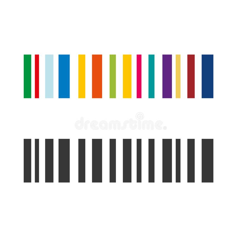 Colored and grey Barcode rainbow vector icon eps10. barcode set sign. royalty free illustration