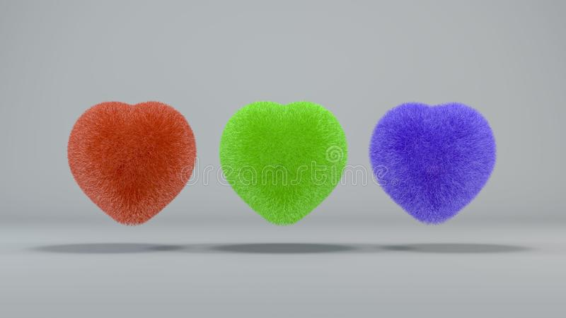 3 colored hairy hearts on a light background. 3D render royalty free illustration