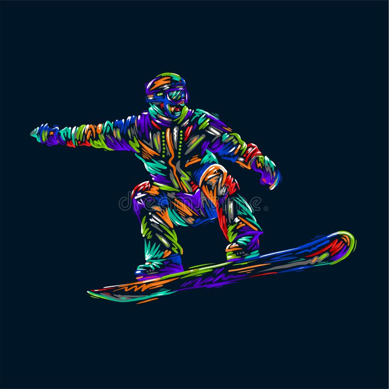 Colored hand drawing sketch snowboarder on a grunge background. Vector illustration snowboard print design art. Colored hand drawing sketch snowboarder on a stock illustration