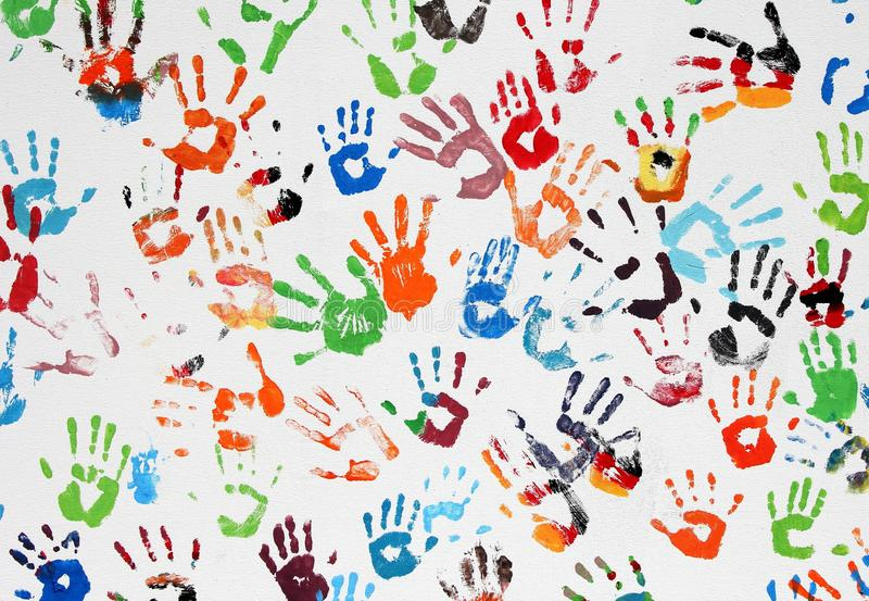 Colored Hand Prints Royalty Free Stock Photo
