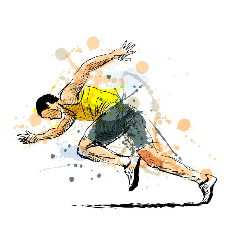 Colored hand sketch running man royalty free illustration