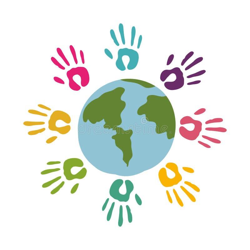Colored hands around of world. Illustration vector illustration