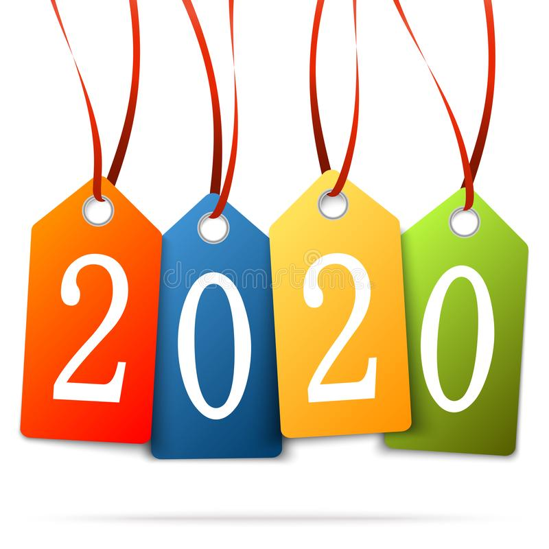 Hanging numbers new year 2020. Colored hang tags with numbers 2020 for New Year greetings, years, eve, day, celebration, beginning, happy, fireworks, holiday royalty free illustration