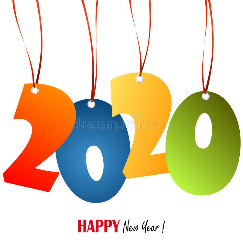 Hanging numbers new year 2020. Colored hang tags with numbers 2020 for New Year greetings, years, eve, day, celebration, beginning, happy, fireworks, holiday stock illustration