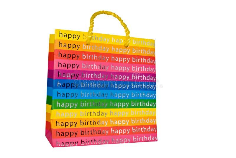 Colored happy birthday gift bag stock photo