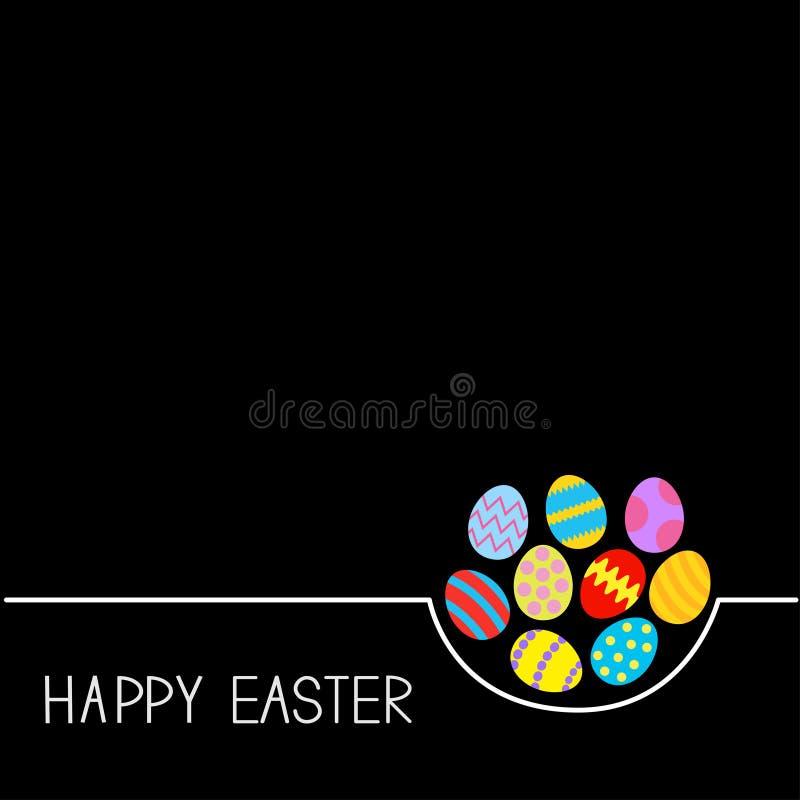 Colored Happy Easter egg set White line Black background Flat design stock illustration