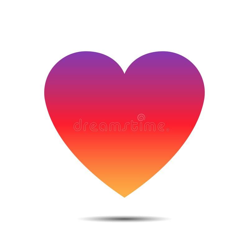 Colored heart social media or network symbol sign gradient love like colorfull wallpaper stock illustration