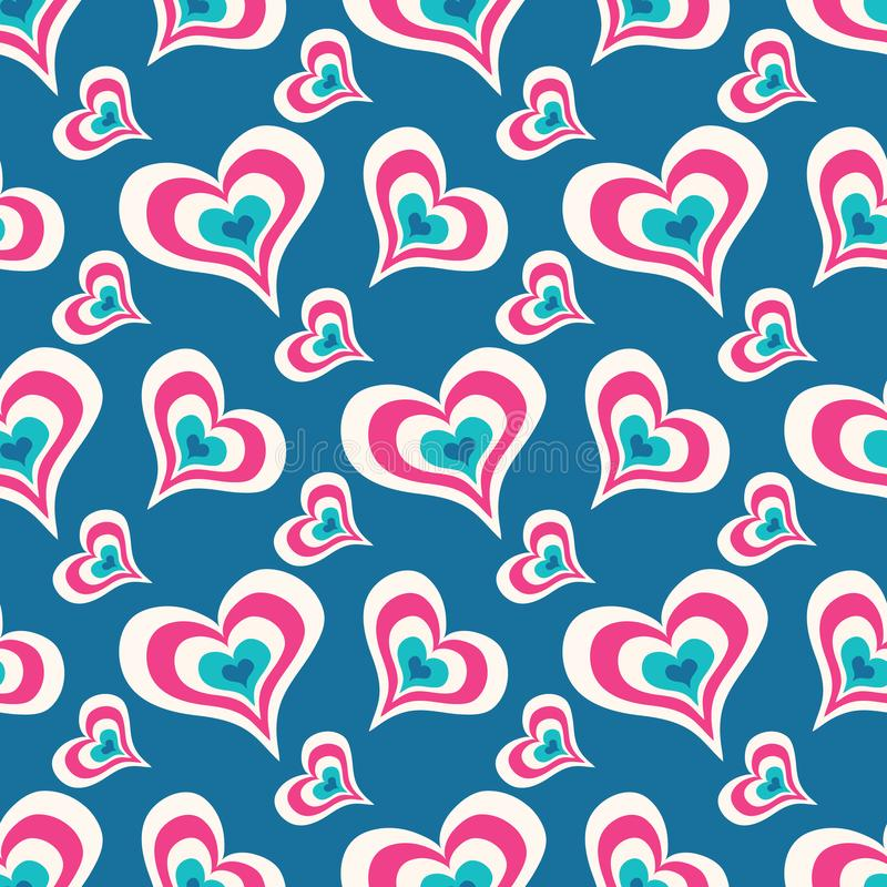 Colored hearts on a blue background seamless valentine`s day pattern for your design vector high quality illustration. Colored hearts on a blue background stock illustration