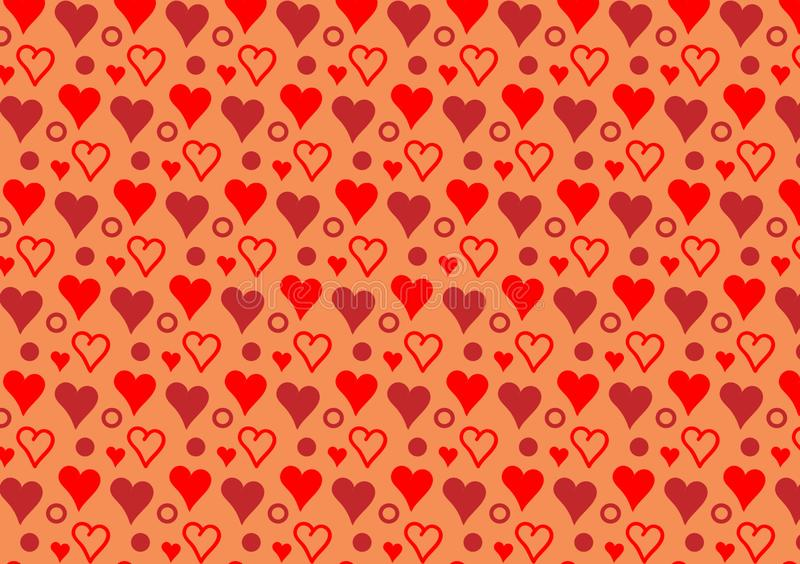 Colored hearts and circles pattern wallpaper. For use as a background design royalty free illustration