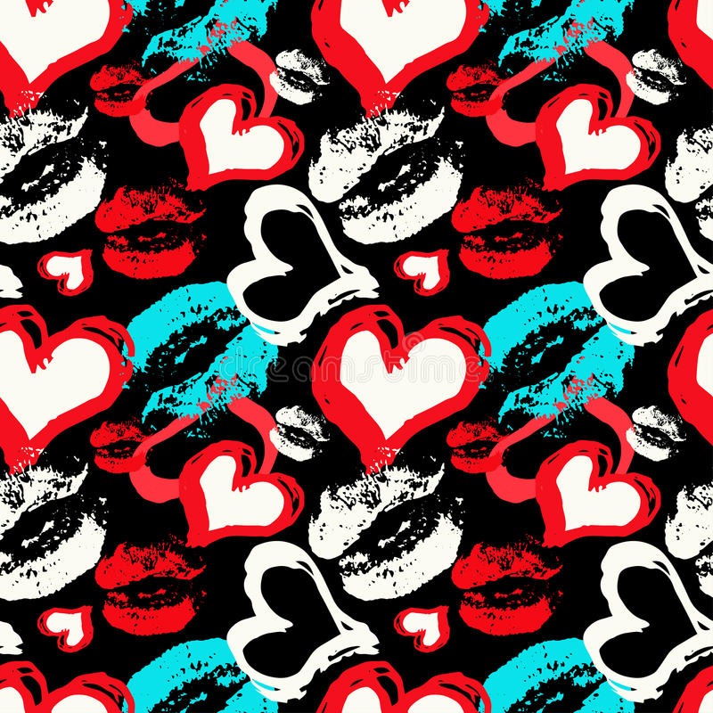 Colored hearts and lips on a black background seamless pattern royalty free illustration