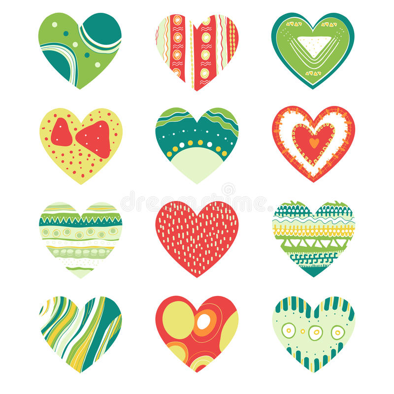 Colored hearts set stock illustration