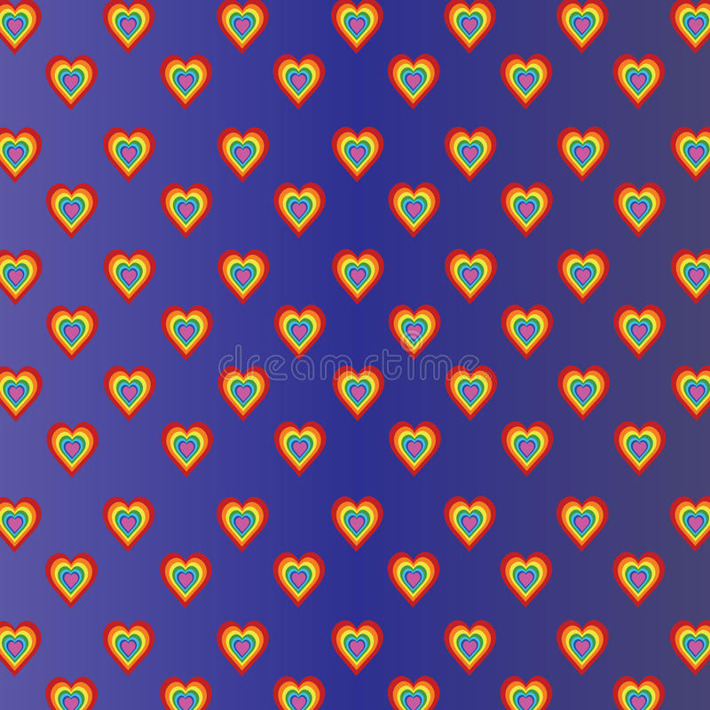 Colored hearts in violet blue gradient background royalty free illustration