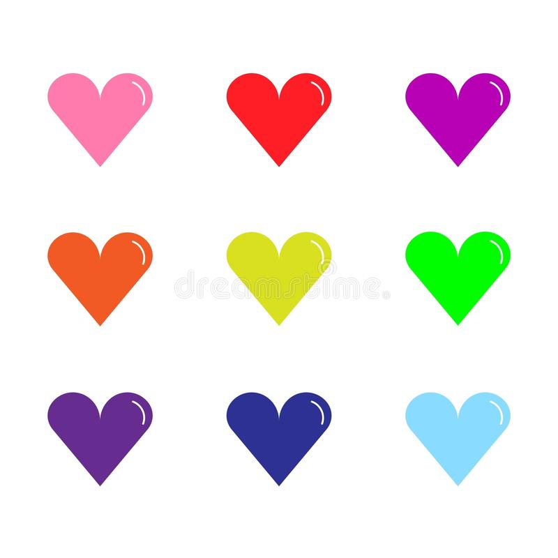 Colored hearts on white background, illustration royalty free stock photography