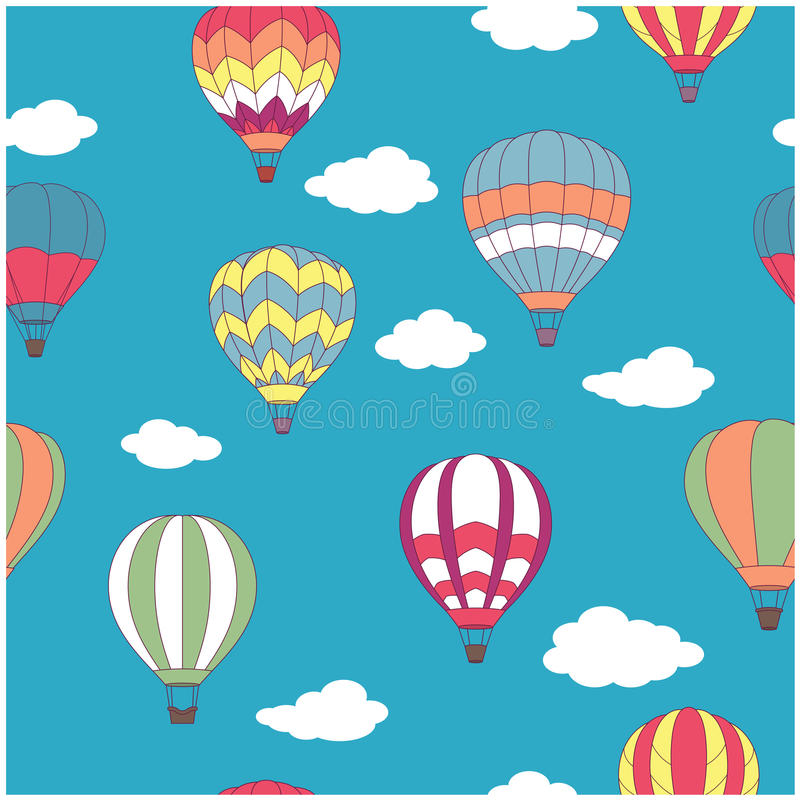 Colored hot air balloons seamless pattern royalty free illustration
