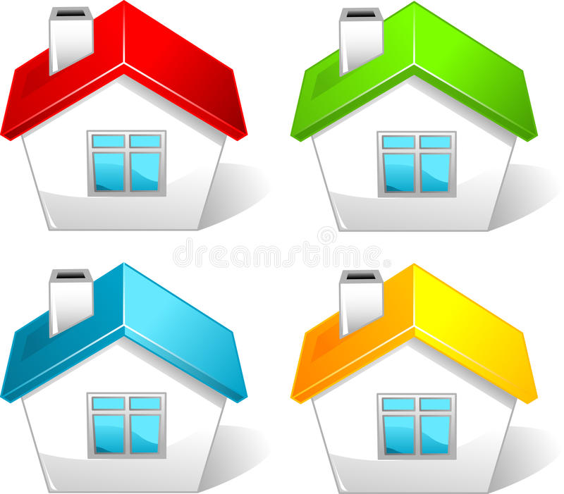 Colored House Icons Royalty Free Stock Images